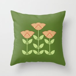 Three Japanese style flowers Throw Pillow