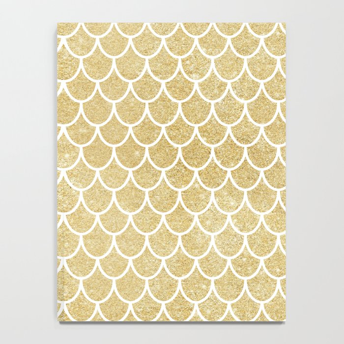 Mermaid Tail Pattern  |  Gold Glitter Notebook