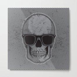 Grey and Black Skull w/Sunglasses Metal Print