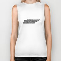 tennessee Biker Tanks featuring Typographic Tennessee by CAPow!