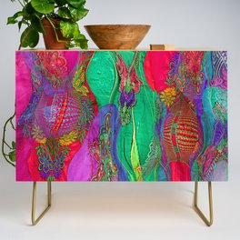 EMBROIDERED ASIAN FABRIC FANTASY COLLAGE Credenza