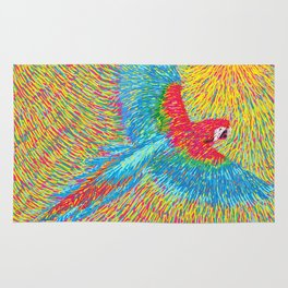 Post Impressionism style brazilian blue red macaw parrot vector painting Rug