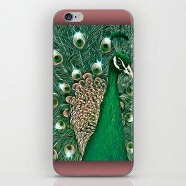 Green & Pink Peacock! iPhone Skin