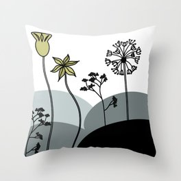 Flowers - Black, white and gold dandelion and cowslip Throw Pillow