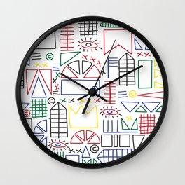 Basquiat & Volpi inspired pattern  Wall Clock