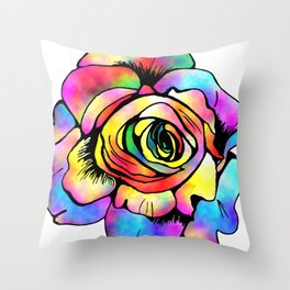 Stained Glass Rose Throw Pillow