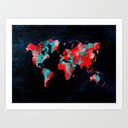 world map 82 red blue Art Print