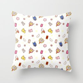 cardcaptor sakura cute stuff pattern Throw Pillow