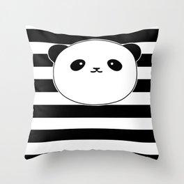 Cute, stripy Panda Face Throw Pillow