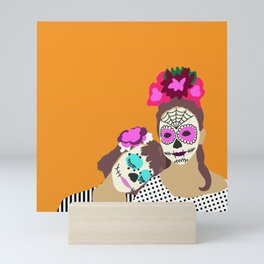 Sugar Skull Halloween Girls Orange Mini Art Print