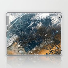 Wander [4]: a vibrant, colorful, abstract in blues, white, and gold Laptop & iPad Skin