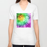 tie dye V-neck T-shirts featuring Colorful Tie Dye Design by Phil Perkins