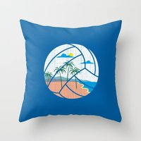 volleyball Throw Pillows featuring Beach Volleyball by Erik Sandi Satresa