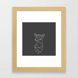 Geometric Doe (White on Grey) Framed Art Print
