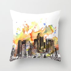 Los Angeles Cityscape Skyline Painting Throw Pillow