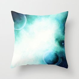 WaterColor Space by hand Throw Pillow