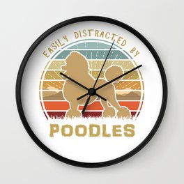 Easily Distracted By Poodles Sunset Wall Clock