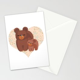 Love You Mom, Mama Bear & Cub Floral Heart Stationery Cards