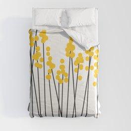Hello Spring! Yellow/Black Retro Plants on White #decor #society6 #buyart Comforters