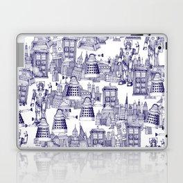 Doctor Who Toile de Jouy | 'Walking Doodle' | Blue Laptop & iPad Skin