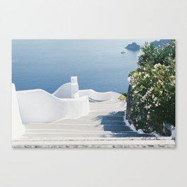 Santorini Stairs II (Landscape) Canvas Print