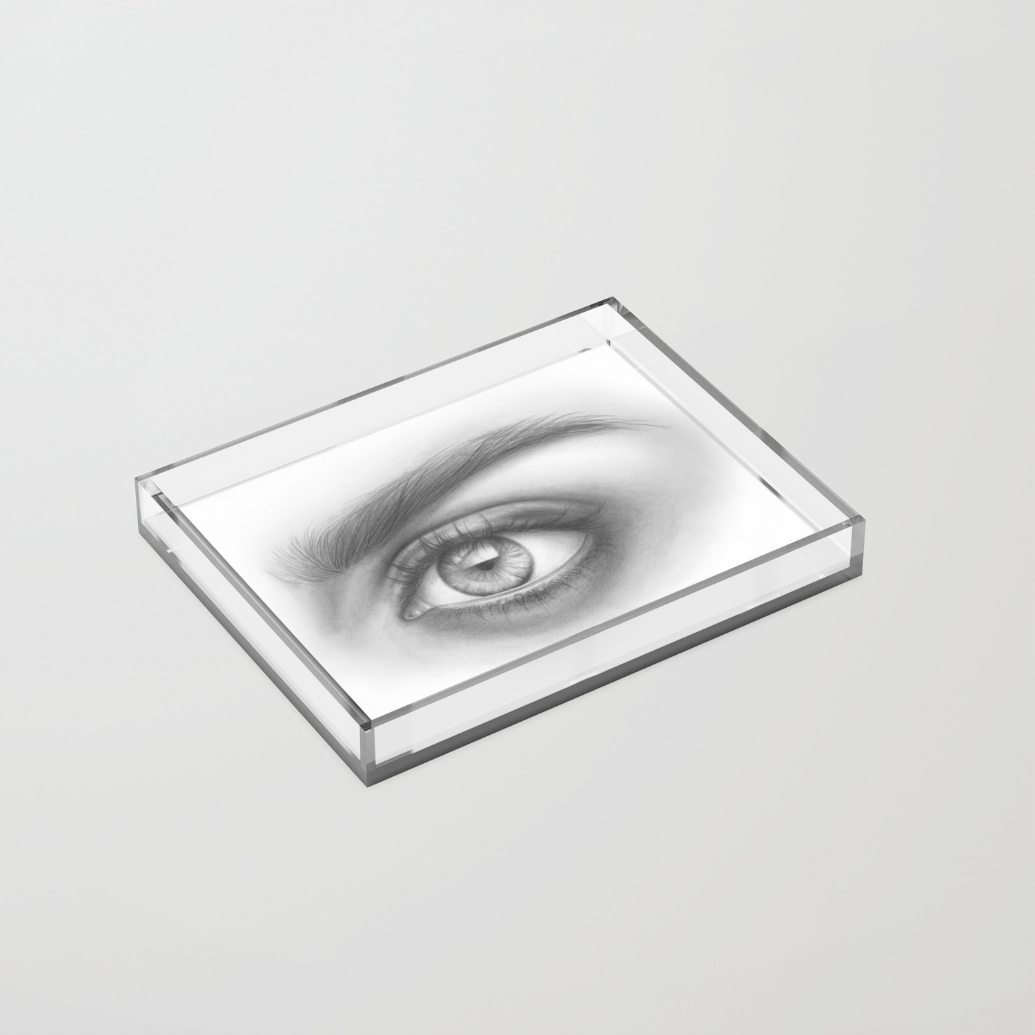 Eye art sexy girl beauty model woman face graphite drawing pencil black and white art acrylic tray by magdaopoka