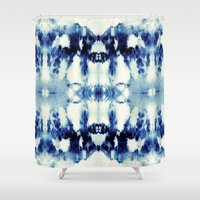 tie dye Shower Curtains featuring Tie Dye Blues by Nina May Designs