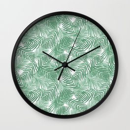 Palm frond tropical vacation green white house plant gender neutral natural organic garden island Wall Clock