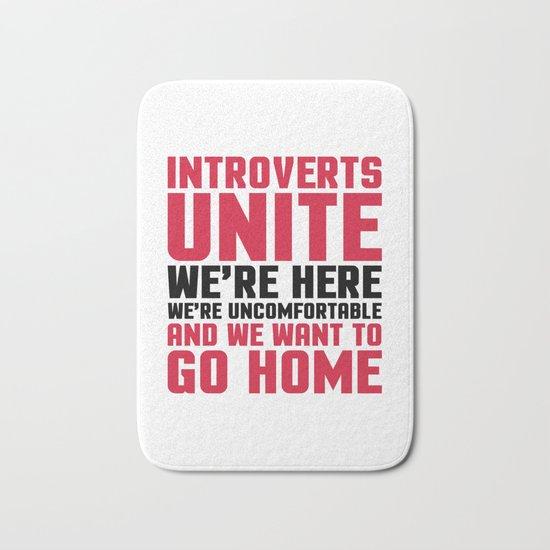 Introverts Unite Funny Quote Bath Mat