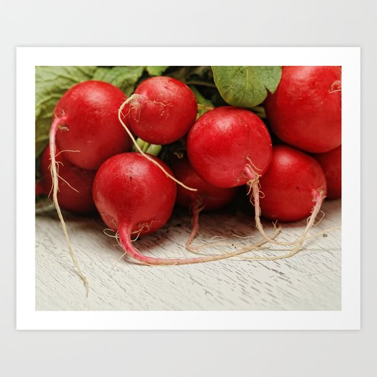 Red radishes on a white table. Art Print