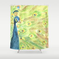 peacock Shower Curtains featuring Peacock by Annie Mason