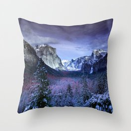 Aerial Photography of Forest Landscape in Snowy Mountain Range Throw Pillow