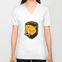 metal gear V-neck T-shirts featuring Metal Gear Solid - Chibi Foxhound by feriowind