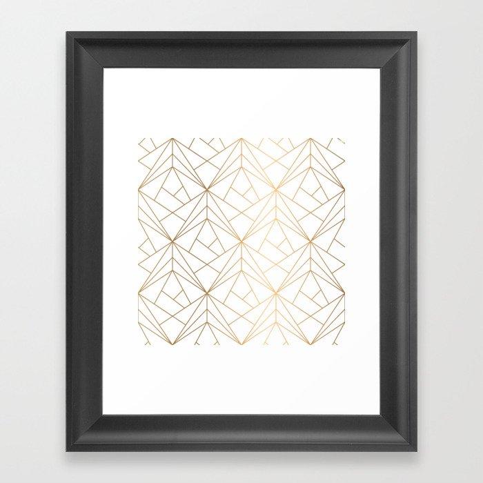 Geometric Gold Pattern With White Shimmer Gerahmter Kunstdruck