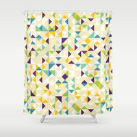 sparkles Shower Curtains featuring Yellow Sparkles by Shuuichi
