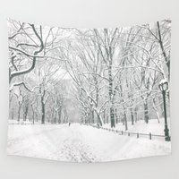 literary Wall Tapestries featuring New York City Snow by Vivienne Gucwa
