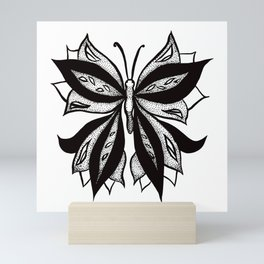 Abstract Butterfly Stipple Shaded Ink Drawing Mini Art Print