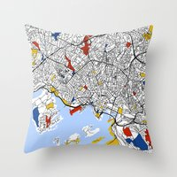 oslo Throw Pillows featuring Oslo mondrian by Mondrian Maps