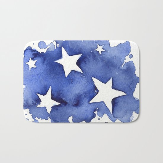 Stars Abstract Blue Watercolor Geometric Painting Bath Mat