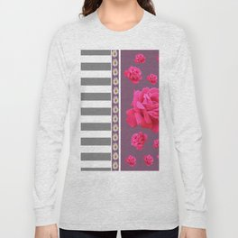 MODERN  PINK ROSES ON PUCE COLOR ART Long Sleeve T-shirt