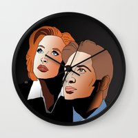 mulder Wall Clocks featuring Mulder & Scully: The Files of X by Mike Thomas Portraiture