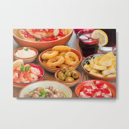 II - Assortment of Spanish tapas and sangria on a rustic table Metal Print