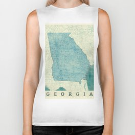 Georgia Map Blue Vintage Biker Tank