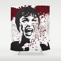 hitchcock Shower Curtains featuring Hitchcock Inspired Art  by pennyprintables
