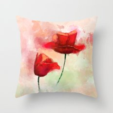 Red Poppy watercolor painting Throw Pillow
