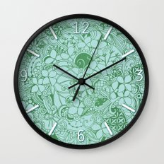Blue square, green floral doodle, zentangle inspired art pattern Wall Clock