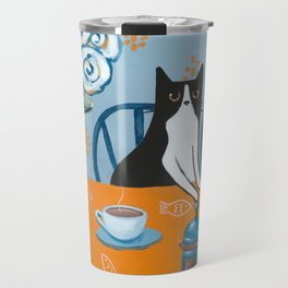 Cats and a French Press Travel Mug