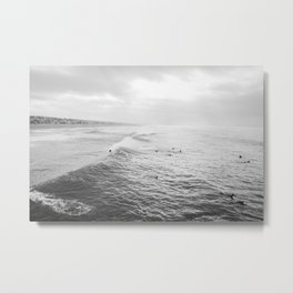 Surfers in the Water Manhattan Beach California Photography Metal Print