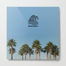 South Shore Palm Trees Design Metal Print