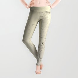 Crater Lake Vintage Map Leggings